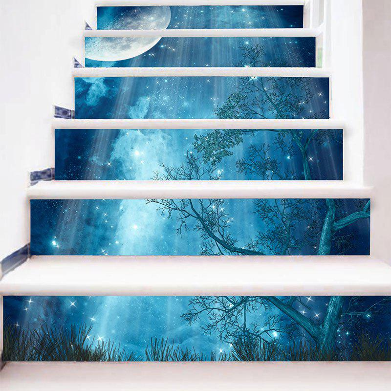 Starry Moon Night Forest Printed 3D Stair StickersHOME<br><br>Size: 6PCS:39*7 INCH( NO FRAME ); Color: BLUE; Wall Sticker Type: 3D Wall Stickers; Functions: Stair Stickers; Theme: Landscape; Pattern Type: 3D,Moon,Star; Material: PVC; Feature: Removable; Weight: 0.3100kg; Package Contents: 6 x Stair Stickers (Pcs);