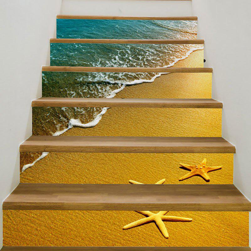 Beach Waves Starfish Patterned 3D Stair StickersHOME<br><br>Size: 6PCS:39*7 INCH( NO FRAME ); Color: GINGER; Wall Sticker Type: 3D Wall Stickers; Functions: Stair Stickers; Theme: Landscape; Pattern Type: 3D,Scenic; Material: PVC; Feature: Removable; Weight: 0.3100kg; Package Contents: 6 x Stair Stickers (Pcs);