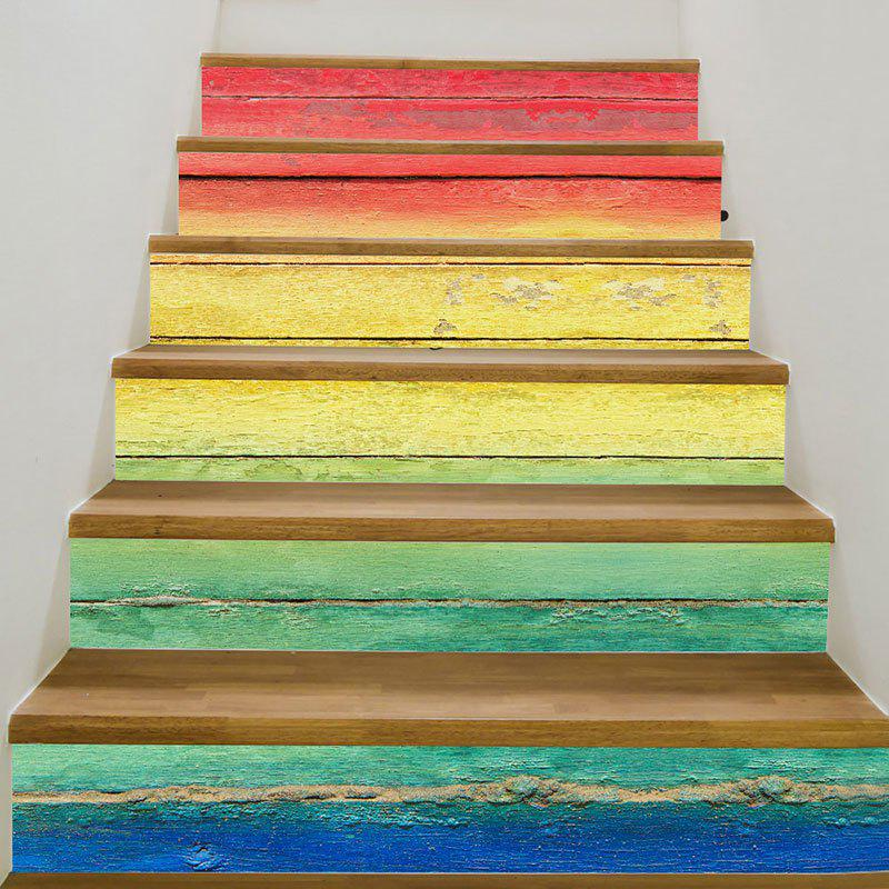 3D Rainbow Wooden Patterned Stair StickersHOME<br><br>Size: 6PCS:39*7 INCH( NO FRAME ); Color: COLORFUL; Wall Sticker Type: 3D Wall Stickers; Functions: Stair Stickers; Pattern Type: 3D; Material: PVC; Feature: Removable; Weight: 0.3100kg; Package Contents: 6 x Stair Stickers (Pcs);