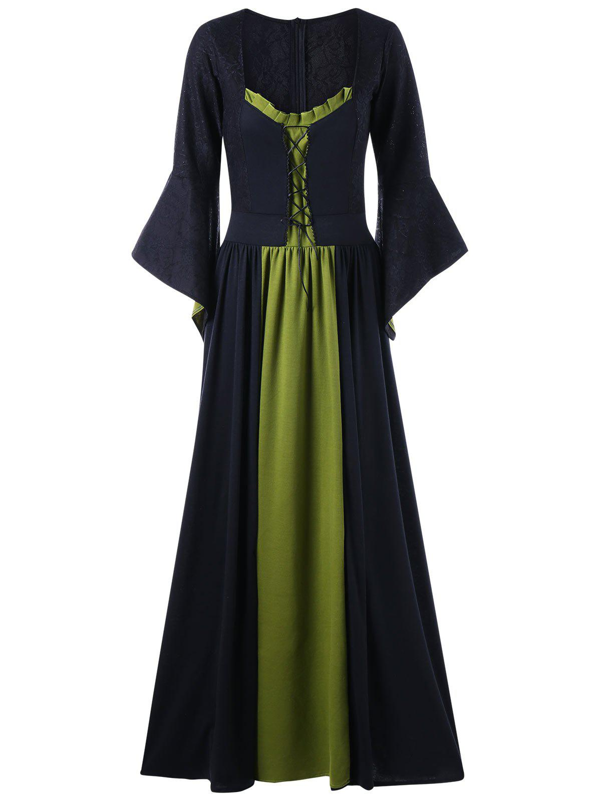 Flounced Flare Sleeve Maxi Evening DressWOMEN<br><br>Size: 2XL; Color: PEA GREEN; Style: Gothic; Material: Polyester,Spandex; Silhouette: A-Line; Dresses Length: Floor-Length; Neckline: U Neck; Sleeve Length: Long Sleeves; Pattern Type: Solid; With Belt: No; Season: Fall,Spring; Weight: 0.7100kg; Package Contents: 1 x Dress;