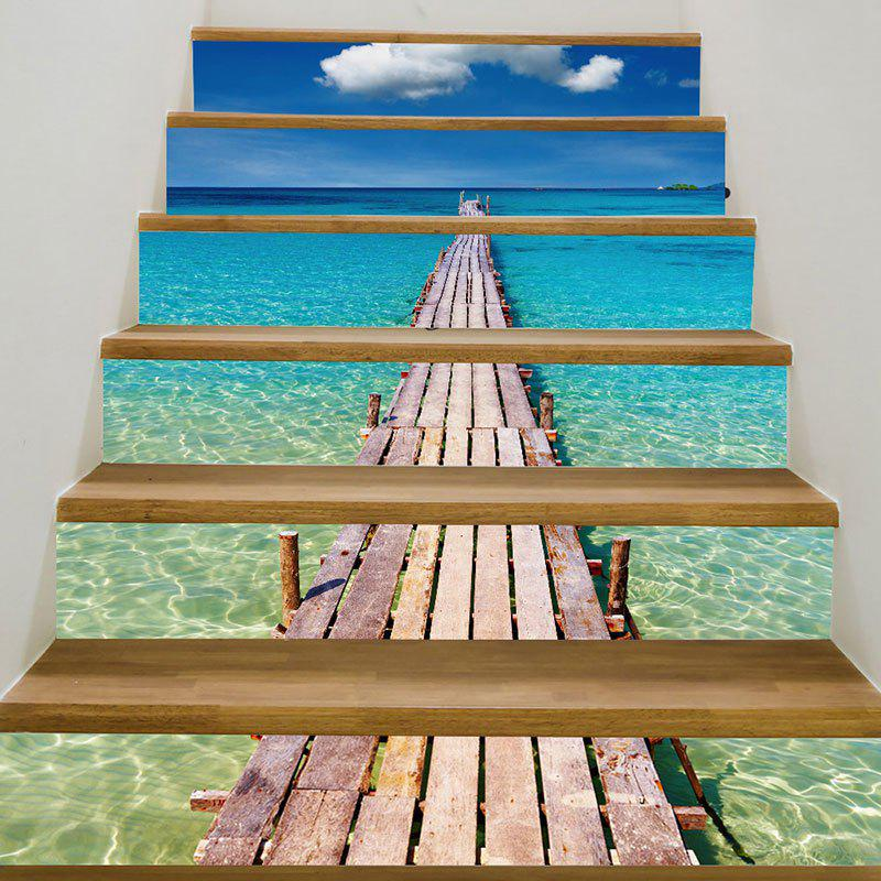 Sea Plank Bridge Patterned 3D Stair StickersHOME<br><br>Size: 6PCS:39*7 INCH( NO FRAME ); Color: BLUE AND GREEN; Wall Sticker Type: 3D Wall Stickers; Functions: Stair Stickers; Theme: Landscape; Pattern Type: 3D,Scenic; Material: PVC; Feature: Removable; Weight: 0.3100kg; Package Contents: 6 x Stair Stickers (Pcs);