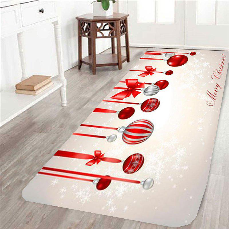 Skidproof Christmas Ball Printed RugHOME<br><br>Size: W24 INCH * L71 INCH; Color: COLORFUL; Products Type: Bath rugs; Materials: Coral FLeece; Pattern: Ball; Style: Festival; Shape: Rectangle; Package Contents: 1 x Rug;