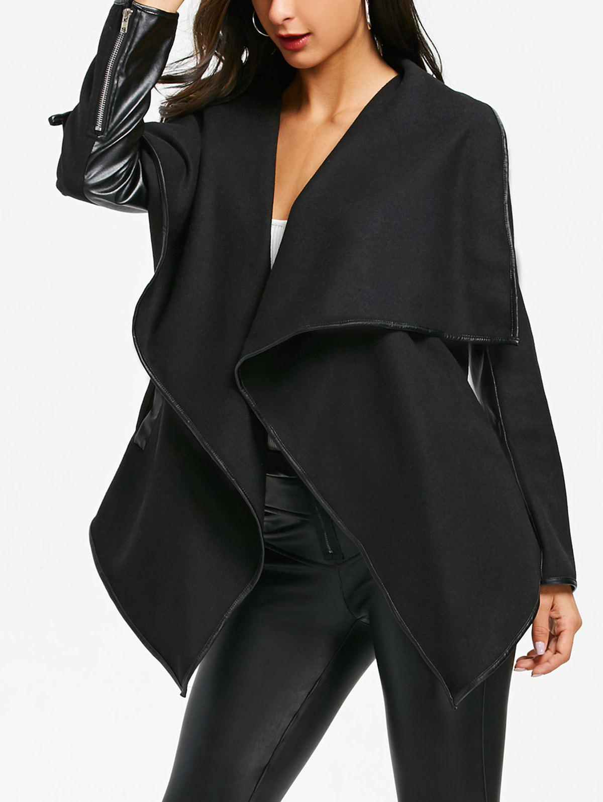 Outfits Faux Leather Trim Turndown Collar Irregular Jacket