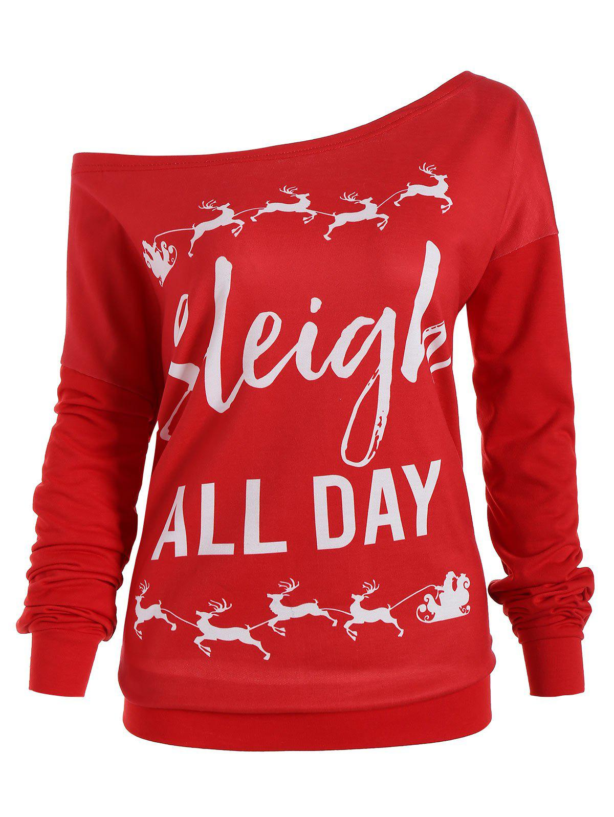 Christmas Elk Plus Size Sleigh All Day SweatshirtWOMEN<br><br>Size: XL; Color: RED; Material: Polyester,Spandex; Shirt Length: Regular; Sleeve Length: Full; Style: Fashion; Pattern Style: Letter; Season: Fall,Spring; Weight: 0.3700kg; Package Contents: 1 x Sweatshirt;