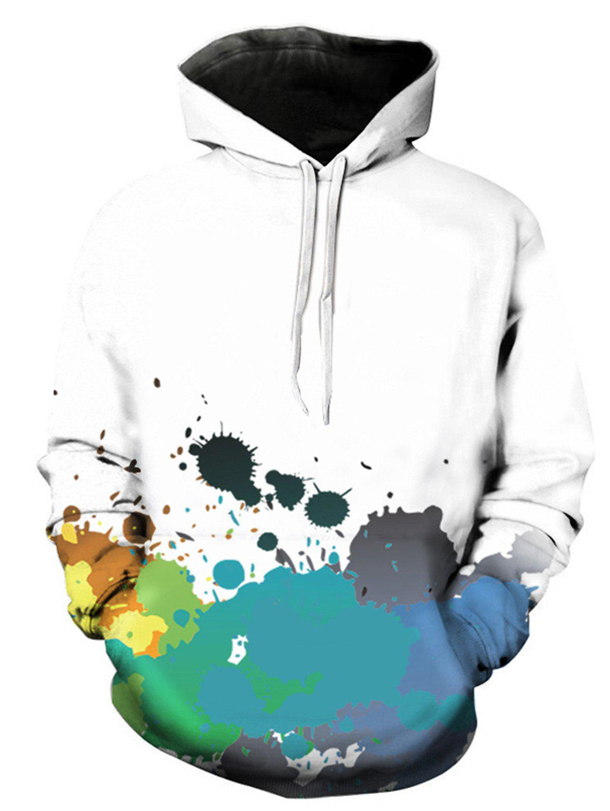 [56% OFF] 3D Colorful Paint Splatter Print Pullover Hoodie ...