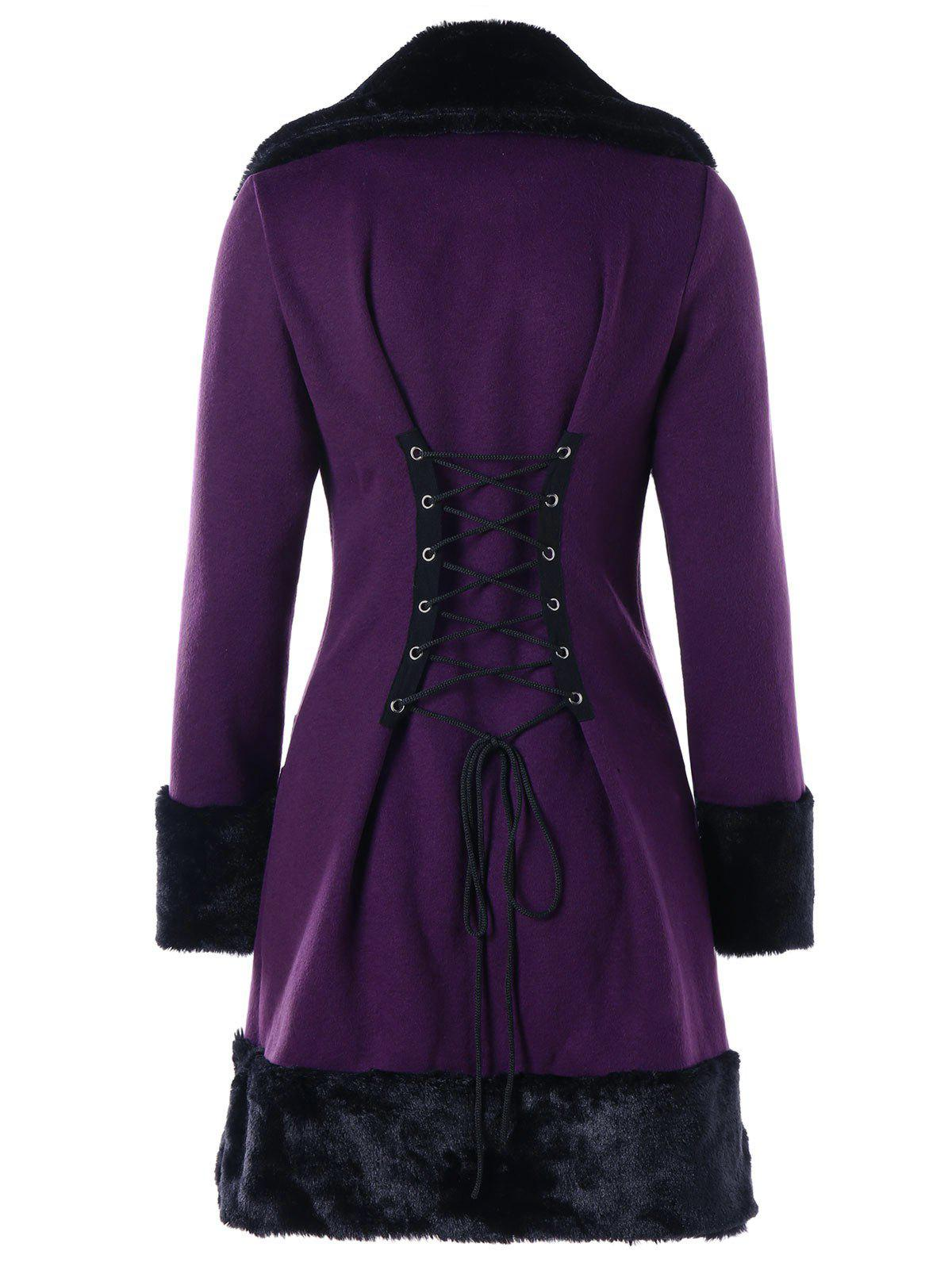 Faux Fur Panel Double Breasted Lace-up CoatWOMEN<br><br>Size: XL; Color: PURPLE; Clothes Type: Others; Material: Cotton Blend,Polyester; Type: Slim; Shirt Length: Long; Sleeve Length: Full; Collar: Convertible Collar; Pattern Type: Others; Style: Fashion; Season: Fall,Winter; Weight: 0.8170kg; Package Contents: 1 x Coat;