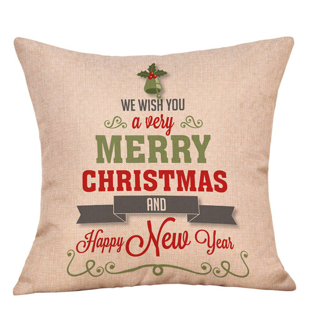 Christmas Greetings Letters Print Decorative Linen PillowcaseHOME<br><br>Size: W18 INCH * L18 INCH; Color: COLORMIX; Material: Linen; Pattern: Letter; Style: Festival; Shape: Square; Weight: 0.0900kg; Package Contents: 1 x Pillowcase;