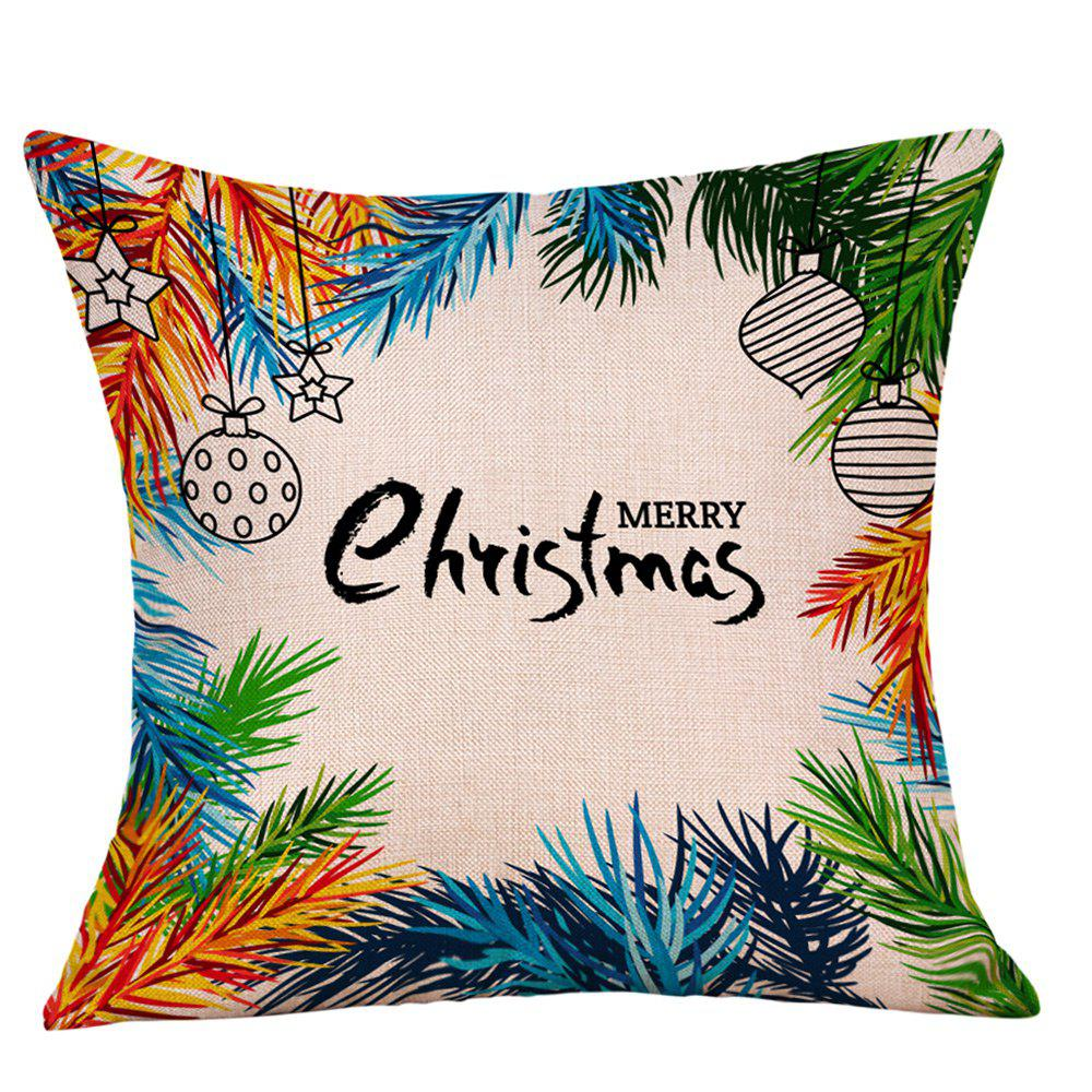 Christmas Baubles Leaves Print Decorative Linen PillowcaseHOME<br><br>Size: W18 INCH * L18 INCH; Color: COLORMIX; Material: Linen; Pattern: Baubles,Letter; Style: Festival; Shape: Square; Weight: 0.0900kg; Package Contents: 1 x Pillowcase;