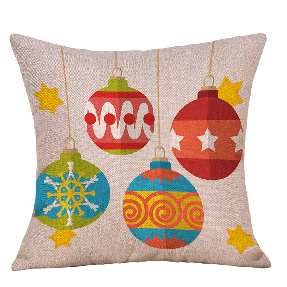 Christmas Hanging Baubles Print Decorative Linen PillowcaseHOME<br><br>Size: W18 INCH * L18 INCH; Color: COLORMIX; Material: Linen; Pattern: Baubles; Style: Festival; Shape: Square; Weight: 0.0900kg; Package Contents: 1 x Pillowcase;