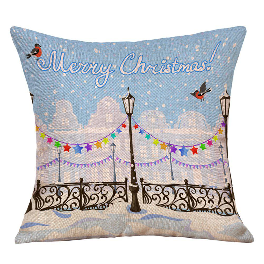 Christmas Road Lamp Print Decorative Linen PillowcaseHOME<br><br>Size: W18 INCH * L18 INCH; Color: COLORMIX; Material: Linen; Pattern: Letter,Star; Style: Festival; Shape: Square; Weight: 0.0900kg; Package Contents: 1 x Pillowcase;