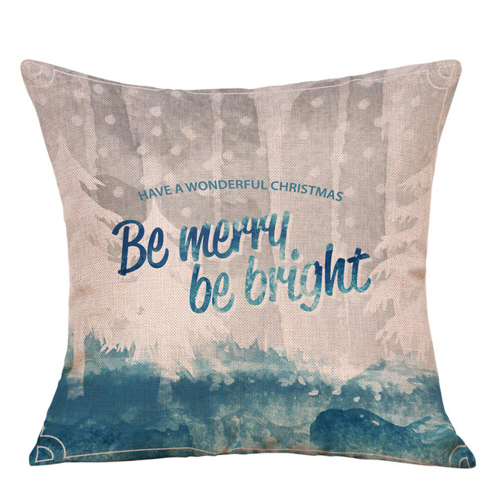 Merry Christmas Print Decorative Linen Sofa PillowcaseHOME<br><br>Size: W18 INCH * L18 INCH; Color: BLUE; Material: Linen; Pattern: Letter; Style: Festival; Shape: Square; Weight: 0.0900kg; Package Contents: 1 x Pillowcase;