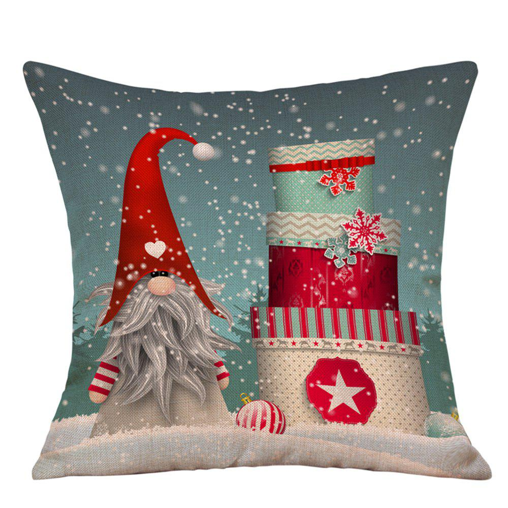 Snowy Christmas Gifts Print Decorative Linen PillowcaseHOME<br><br>Size: W18 INCH * L18 INCH; Color: COLORMIX; Material: Linen; Pattern: Gift; Style: Festival; Shape: Square; Weight: 0.0900kg; Package Contents: 1 x Pillowcase;