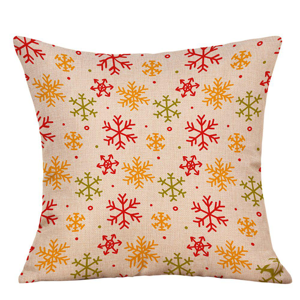 Snowflakes Christmas Print Linen Decorative PillowcaseHOME<br><br>Size: W18 INCH * L18 INCH; Color: OFF-WHITE; Material: Linen; Pattern: Snowflake; Style: Festival; Shape: Square; Weight: 0.0900kg; Package Contents: 1 x Pillowcase;