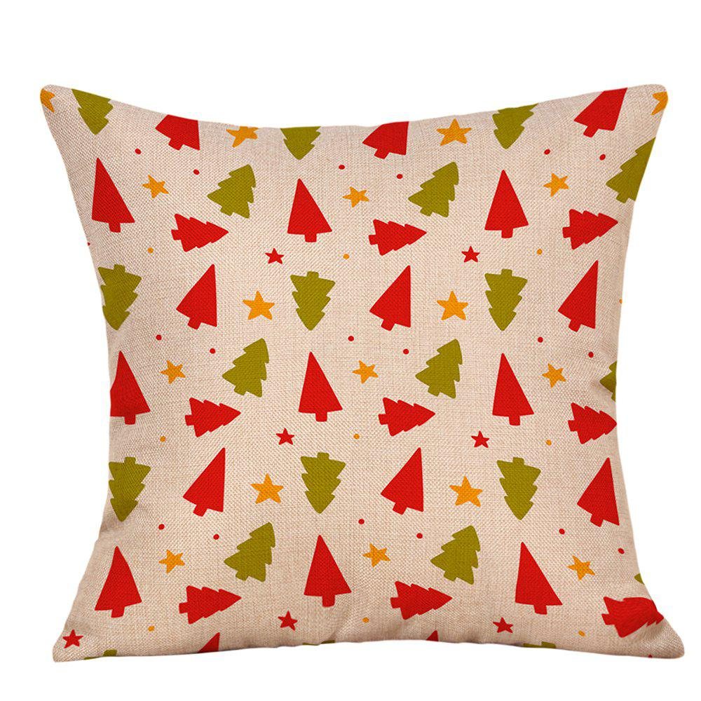 Christmas Cartoon Trees Stars Print Decorative Linen PillowcaseHOME<br><br>Size: W18 INCH * L18 INCH; Color: COLORMIX; Material: Linen; Pattern: Star,Tree; Style: Festival; Shape: Square; Weight: 0.0900kg; Package Contents: 1 x Pillowcase;