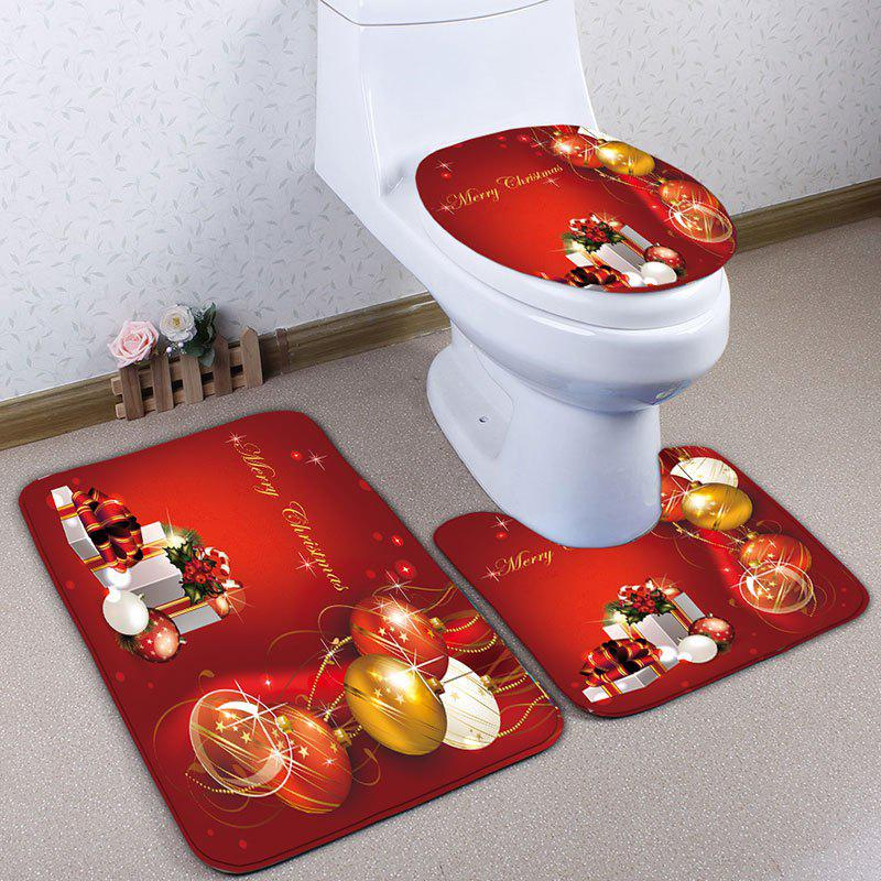 Christmas Gift Ball Print Flannel 3Pcs Bath Toilet Mats SetHOME<br><br>Color: RED; Products Type: Bath Mats; Materials: Flannel; Pattern: Ball,Gift; Style: Festival; Size: Pedestal Rug: 40*50CM, Lid Toilet Cover: 38*43CM, Bath Mat: 50*80CM; Package Contents: 1 x Pedestal Rug 1 x Lid Toilet Cover 1 x Bath Mat;