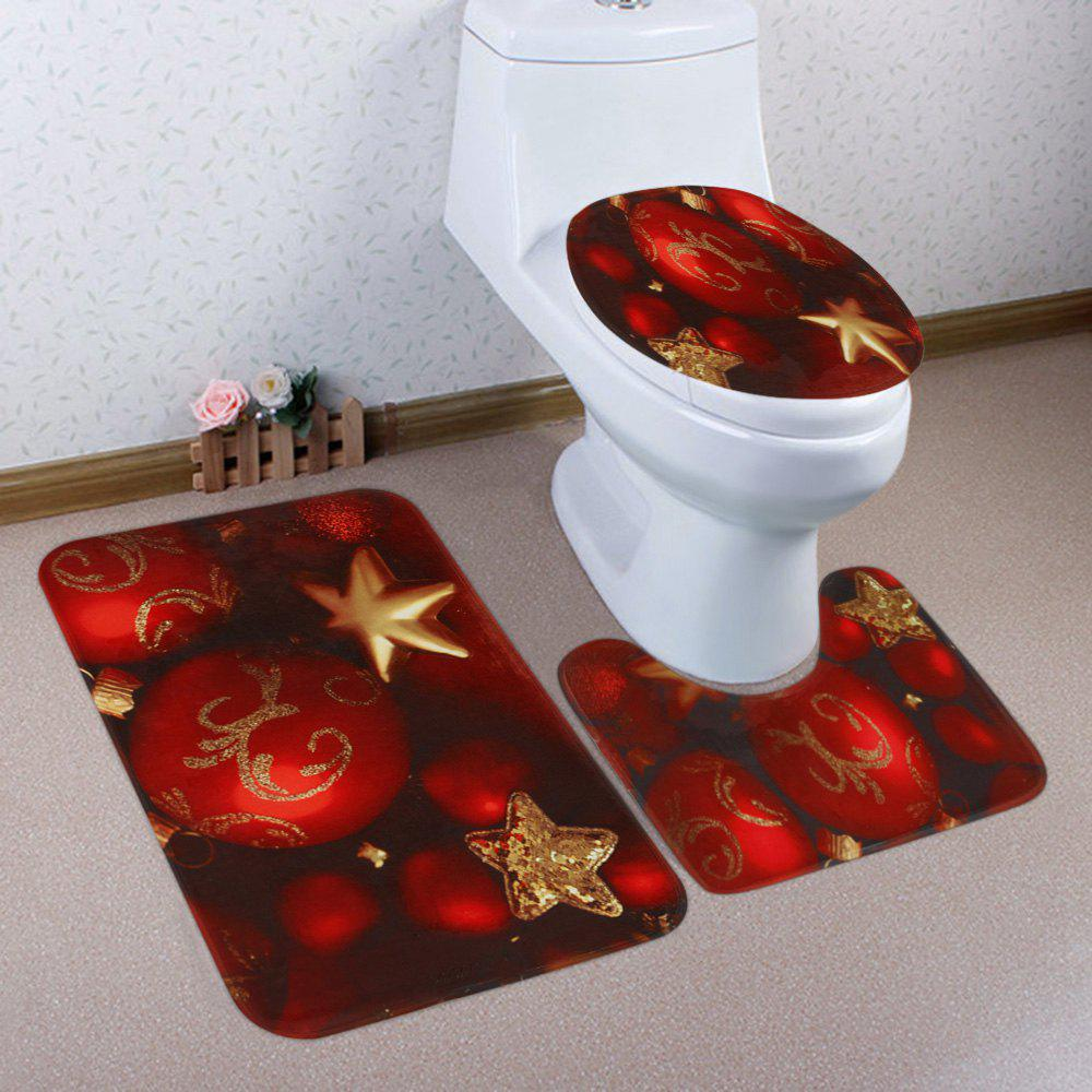 Latest Christmas Baubles Star Pattern 3 Pcs Bath Mat Toilet Mat
