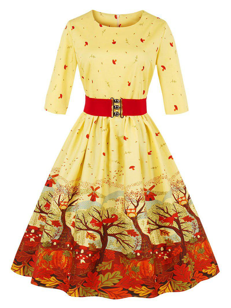 Christmas Vintage Forest Print Skater Pin Up DressWOMEN<br><br>Size: S; Color: YELLOW; Style: Vintage; Material: Cotton,Polyester; Silhouette: A-Line; Dress Type: Fit and Flare Dress,Skater Dress; Dresses Length: Knee-Length; Neckline: Round Collar; Sleeve Length: 3/4 Length Sleeves; Pattern Type: Print; With Belt: Yes; Season: Fall,Summer; Weight: 0.4000kg; Package Contents: 1 x Dress   1 x Belt;