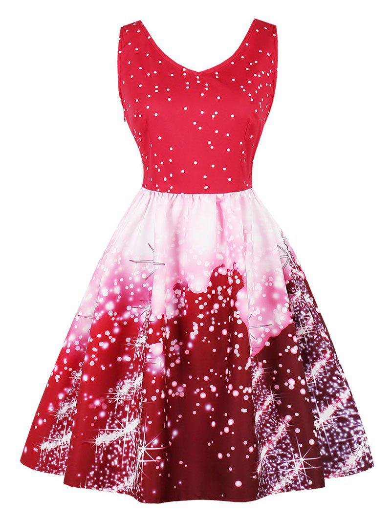 Vintage Starry Sky Print Skater Christmas DressWOMEN<br><br>Size: XL; Color: RED; Style: Vintage; Material: Cotton,Polyester; Silhouette: A-Line; Dress Type: Fit and Flare Dress,Skater Dress; Dresses Length: Knee-Length; Neckline: V-Neck; Sleeve Length: Sleeveless; Pattern Type: Print; With Belt: No; Season: Fall,Spring; Weight: 0.3700kg; Package Contents: 1 x Dress;