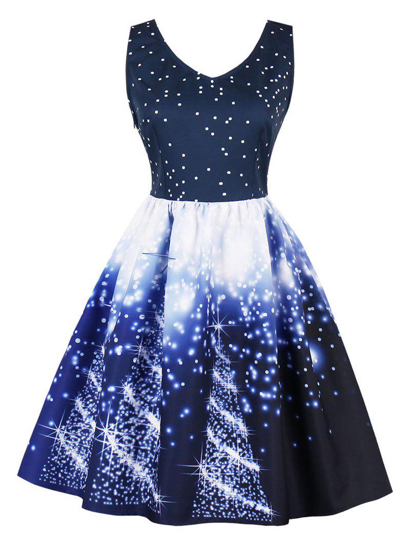Vintage Starry Sky Print Skater Christmas DressWOMEN<br><br>Size: L; Color: DEEP BLUE; Style: Vintage; Material: Cotton,Polyester; Silhouette: A-Line; Dress Type: Fit and Flare Dress,Skater Dress; Dresses Length: Knee-Length; Neckline: V-Neck; Sleeve Length: Sleeveless; Pattern Type: Print; With Belt: No; Season: Fall,Spring; Weight: 0.3700kg; Package Contents: 1 x Dress;