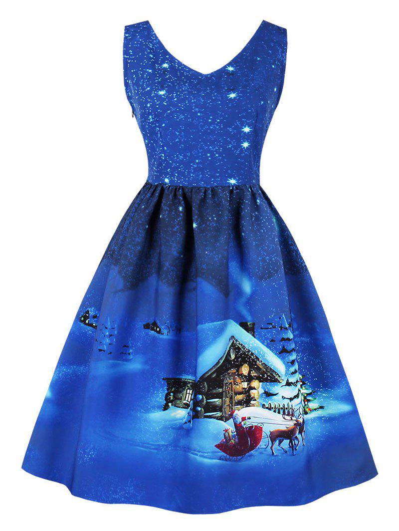 Vintage Cottage Snowflake Print Christmas DressWOMEN<br><br>Size: L; Color: CERULEAN; Style: Vintage; Material: Cotton,Polyester; Silhouette: A-Line; Dress Type: Fit and Flare Dress; Dresses Length: Knee-Length; Neckline: V-Neck; Sleeve Length: Sleeveless; Pattern Type: Print; With Belt: No; Season: Fall,Spring; Weight: 0.3700kg; Package Contents: 1 x Dress;