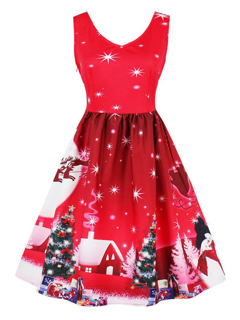 Vintage Snowflake Tree Print Christmas Pin Up DressWOMEN<br><br>Size: M; Color: RED; Style: Vintage; Material: Cotton,Polyester; Silhouette: A-Line; Dress Type: Fit and Flare Dress; Dresses Length: Knee-Length; Neckline: V-Neck; Sleeve Length: Sleeveless; Pattern Type: Print; With Belt: No; Season: Fall,Spring; Weight: 0.3700kg; Package Contents: 1 x Dress;