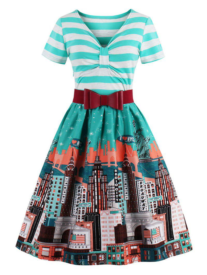 Vintage Striped City Print Christmas Skater DressWOMEN<br><br>Size: 2XL; Color: STRIPE; Style: Vintage; Material: Cotton,Polyester; Silhouette: A-Line; Dresses Length: Knee-Length; Neckline: V-Neck; Sleeve Length: Short Sleeves; Pattern Type: Print,Striped; With Belt: Yes; Season: Fall,Spring; Weight: 0.4200kg; Package Contents: 1 x Dress  1x Belt;