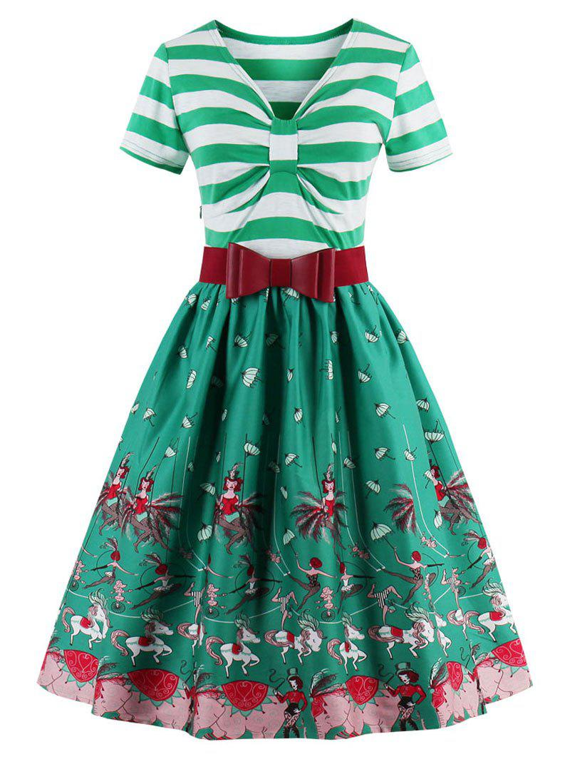 Vintage Bowknot Striped Printed Pin Up Christmas DressWOMEN<br><br>Size: L; Color: GREEN; Style: Vintage; Material: Cotton,Polyester; Silhouette: A-Line; Dress Type: Fit and Flare Dress; Dresses Length: Knee-Length; Neckline: V-Neck; Sleeve Length: Short Sleeves; Pattern Type: Striped; With Belt: Yes; Season: Fall,Spring; Weight: 0.4200kg; Package Contents: 1 x Dress  1x Belt;