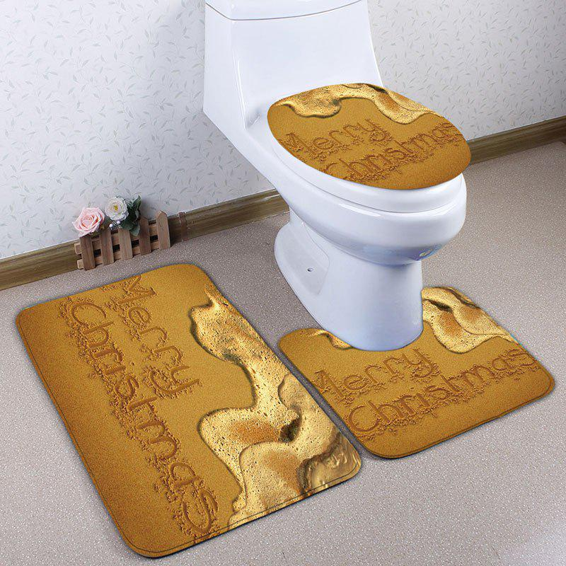 Beach Christmas Letter Print Flannel Bath Toilet Rugs SetHOME<br><br>Color: YELLOW; Products Type: Bath Mats; Materials: Flannel; Pattern: Letter; Style: Festival; Size: Pedestal Rug: 40*50CM, Lid Toilet Cover: 38*43CM, Bath Mat: 50*80CM; Package Contents: 1 x Pedestal Rug 1 x Lid Toilet Cover 1 x Bath Mat;