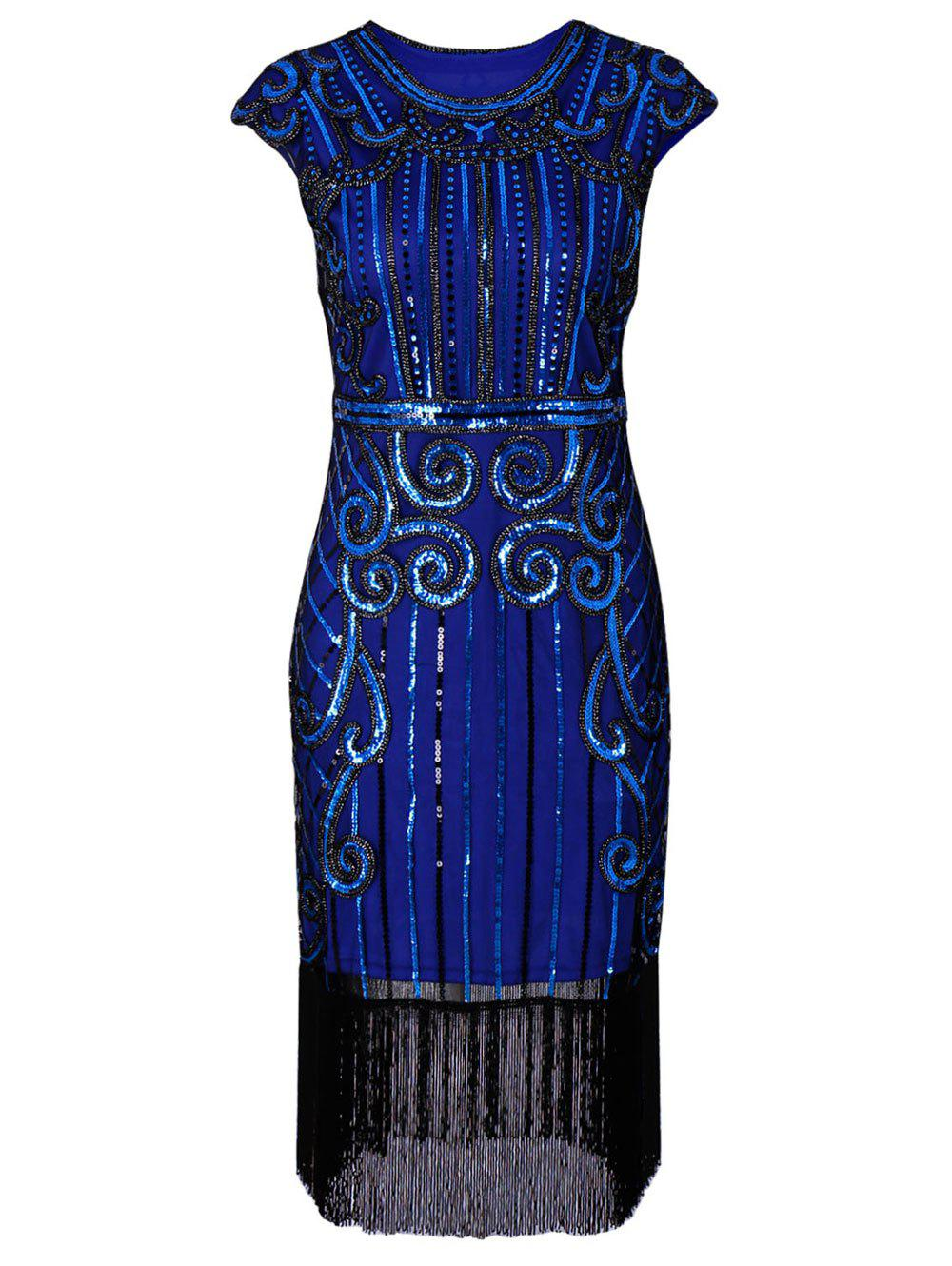 Sequins Fringe Cap Sleeve Vintage Party DressWOMEN<br><br>Size: L; Color: BLUE; Style: Vintage; Material: Polyester,Spandex; Silhouette: Sheath; Dresses Length: Knee-Length; Neckline: Round Collar; Sleeve Length: Short Sleeves; Embellishment: Sequins; Pattern Type: Others; With Belt: No; Season: Fall,Spring; Weight: 0.3900kg; Package Contents: 1 x Dress;