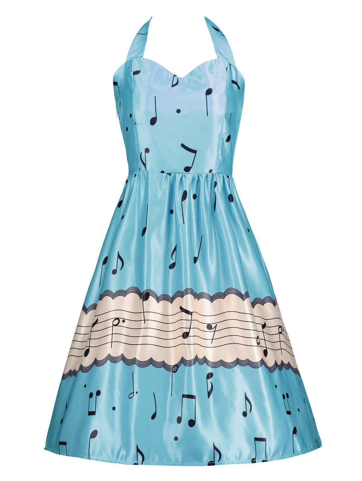 Halter Music Note High Waist Party DressWOMEN<br><br>Size: XL; Color: BLUE; Style: Vintage; Material: Polyester; Silhouette: A-Line; Dresses Length: Knee-Length; Neckline: Halter; Sleeve Length: Sleeveless; Pattern Type: Print; With Belt: No; Season: Spring,Summer; Weight: 0.2700kg; Package Contents: 1 x Dress;
