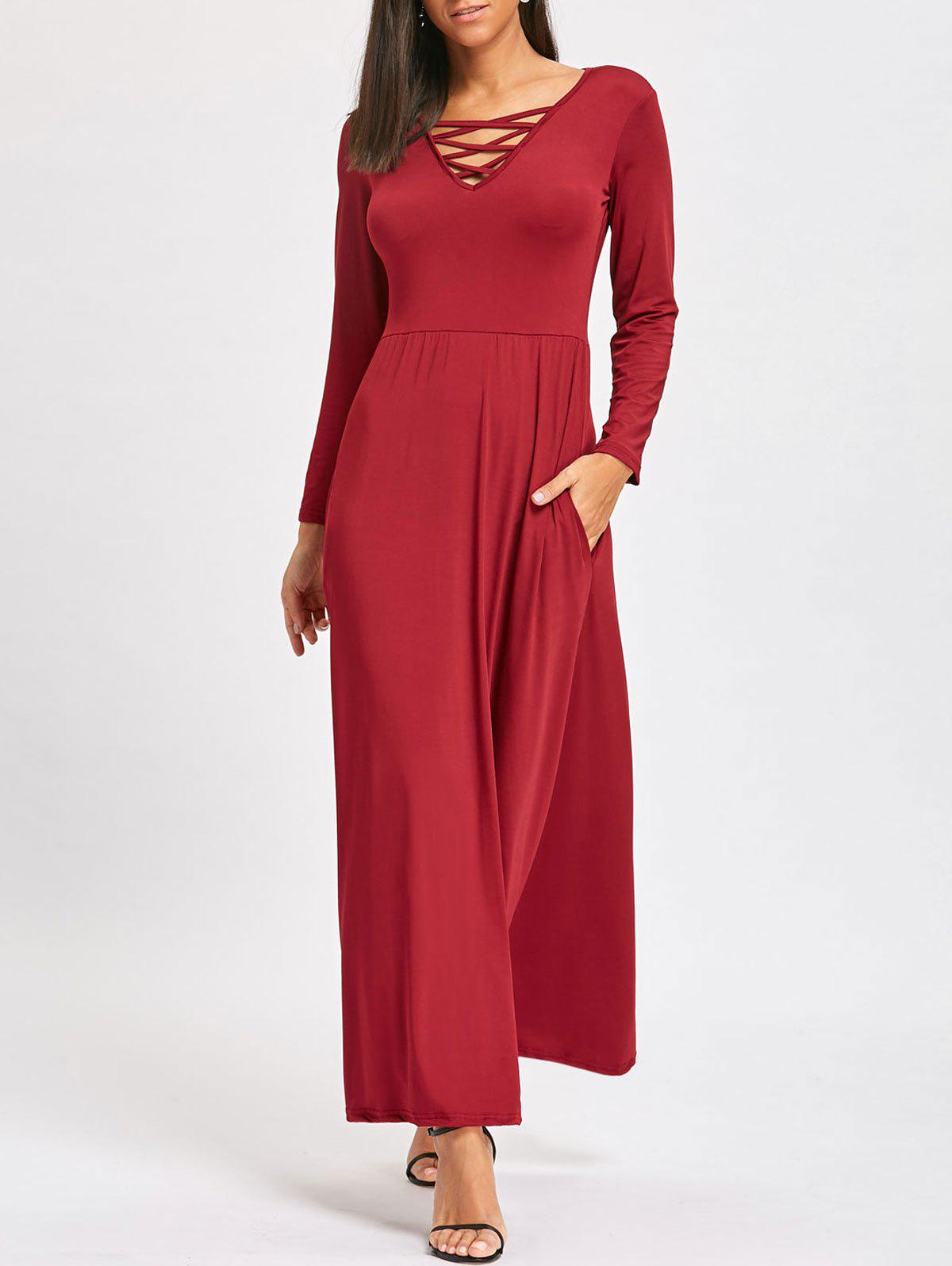 Long Sleeve Lattice V-neck Floor Length DressWOMEN<br><br>Size: M; Color: WINE RED; Style: Casual; Material: Polyester,Spandex; Silhouette: Straight; Dresses Length: Floor-Length; Neckline: V-Neck; Sleeve Length: Long Sleeves; Pattern Type: Solid; With Belt: No; Season: Fall,Spring; Weight: 0.3700kg; Package Contents: 1 x Dress;
