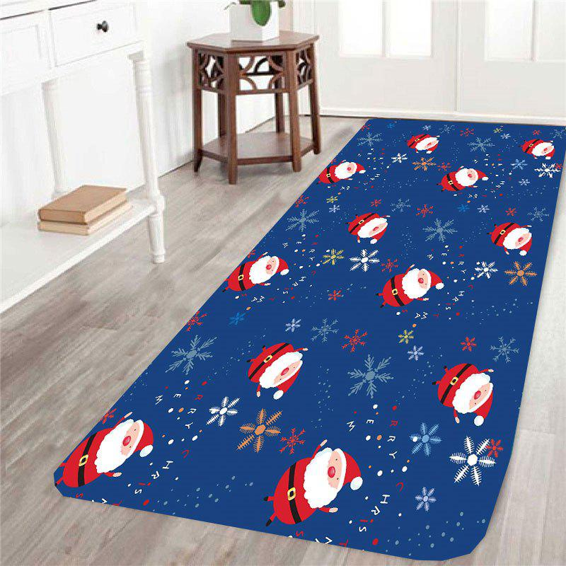 Skidproof Snowflake Santa Printed RugHOME<br><br>Size: W24 INCH * L71 INCH; Color: BLUE; Products Type: Bath rugs; Materials: Coral FLeece; Pattern: Santa Claus,Snowflake; Style: Festival; Shape: Rectangle; Package Contents: 1 x Rug;