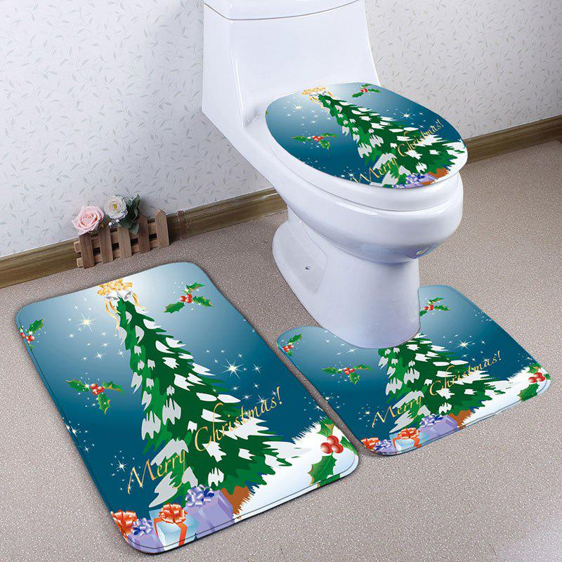 Outfits 3Pcs Christmas Tree Print Flannel Bath Toilet Rugs Set