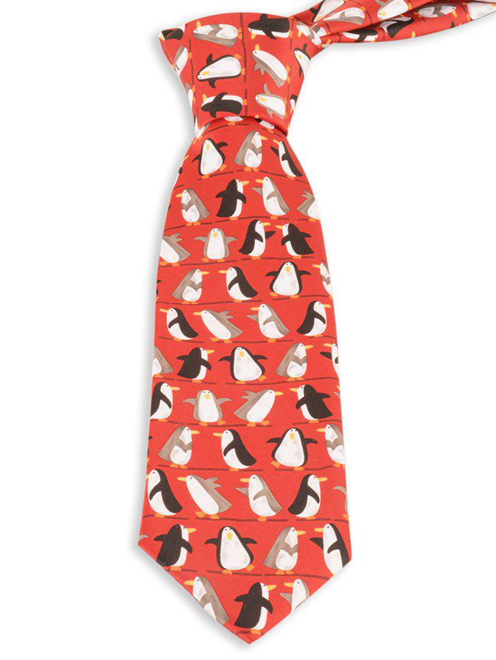 Trendy Cartoon Penguin Pattern Christmas Necktie