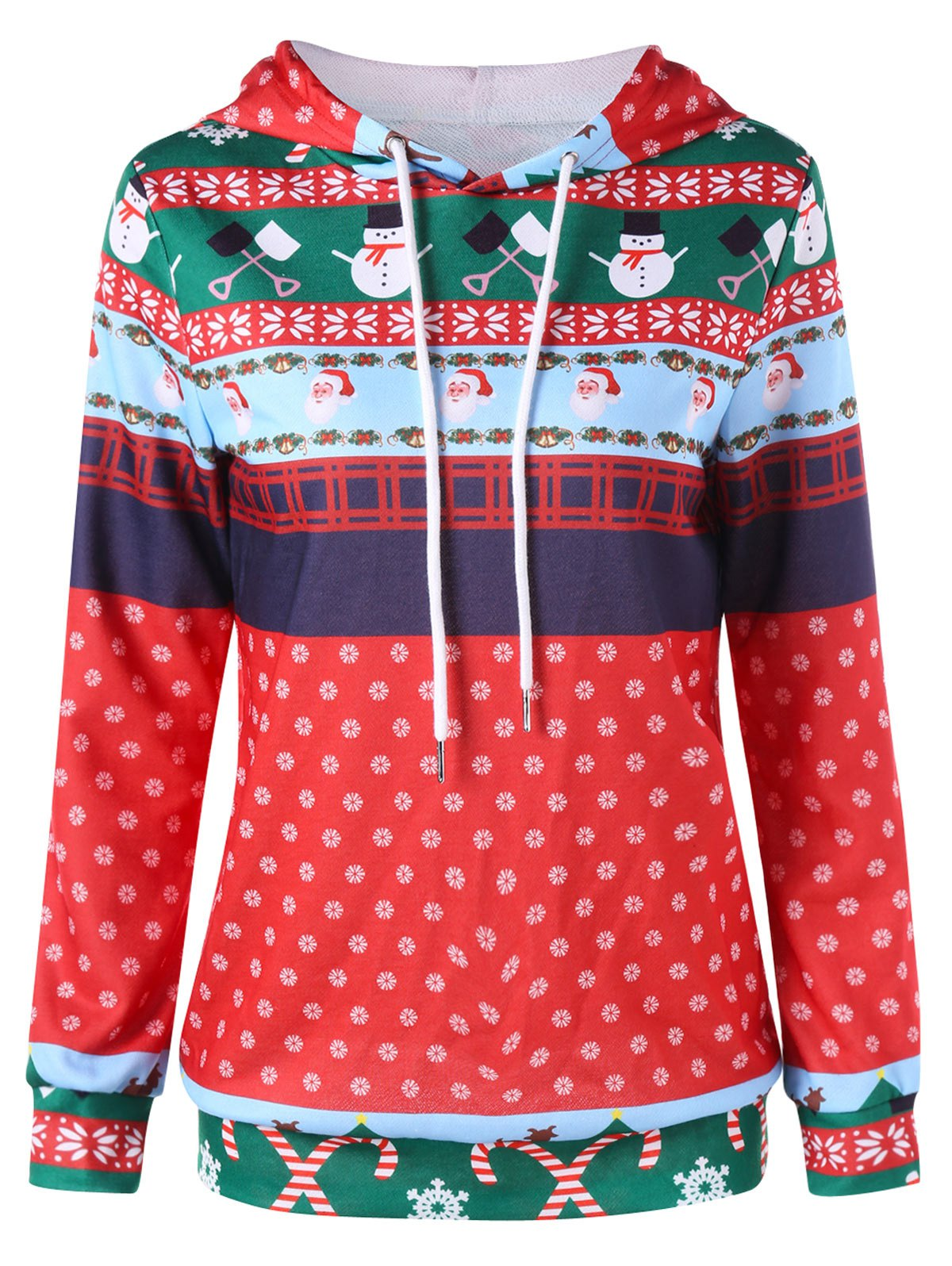 Christmas Print Drawstring HoodieWOMEN<br><br>Size: L; Color: COLORMIX; Material: Polyester; Shirt Length: Regular; Sleeve Length: Full; Style: Fashion; Pattern Style: Print; Season: Fall,Spring; Weight: 0.4430kg; Package Contents: 1 x Hoodie;