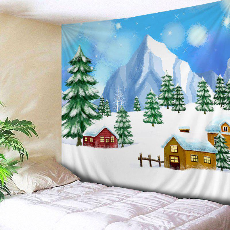 Christmas Trees Houses Print Tapestry Wall Hanging Art DecorationHOME<br><br>Size: W91 INCH * L71 INCH; Color: COLORMIX; Style: Festival; Theme: Christmas; Material: Polyester; Feature: Washable; Shape/Pattern: Tree; Weight: 0.3000kg; Package Contents: 1 x Tapestry;
