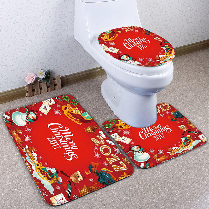Cheap Christmas Elements Print 3Pcs Flannel Bath Toilet Mats Set