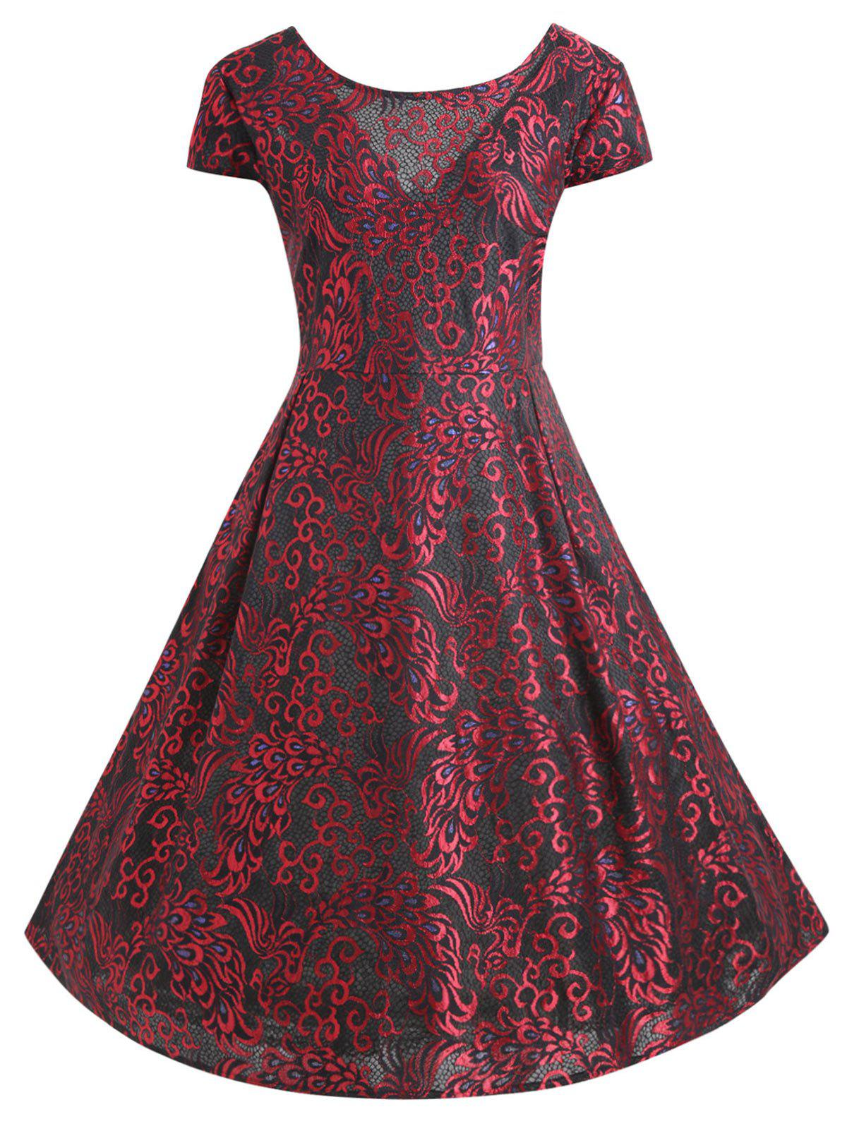 Jacquard Lace Plus Size Midi Rockabilly DressWOMEN<br><br>Size: XL; Color: WINE RED; Style: Vintage; Material: Lace,Polyester; Silhouette: Ball Gown; Dresses Length: Mid-Calf; Neckline: Round Collar; Sleeve Type: Cap Sleeve; Sleeve Length: Short Sleeves; Waist: High Waisted; Embellishment: Lace,Vintage; Pattern Type: Paisley; With Belt: No; Season: Fall,Winter; Weight: 0.4300kg; Package Contents: 1 x Dress;
