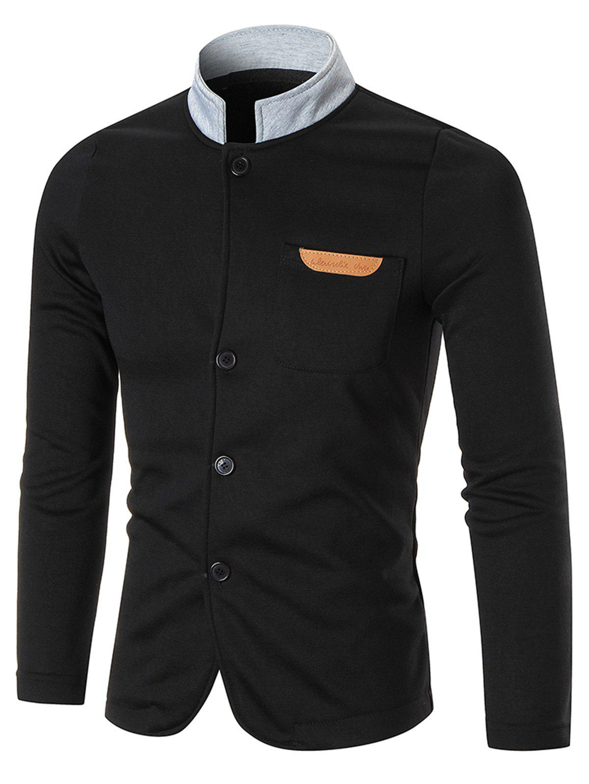 Contrast Collar Chest Pocket Button Up JacketMEN<br><br>Size: 2XL; Color: BLACK; Clothes Type: Jackets; Style: Casual,Streetwear; Material: Cotton,Polyester; Collar: Stand Collar; Shirt Length: Regular; Sleeve Length: Long Sleeves; Season: Fall,Winter; Closure Type: Single Breasted; Occasion: Casual ,Daily Use,Going Out; Weight: 0.5100kg; Package Contents: 1 x Jacket;