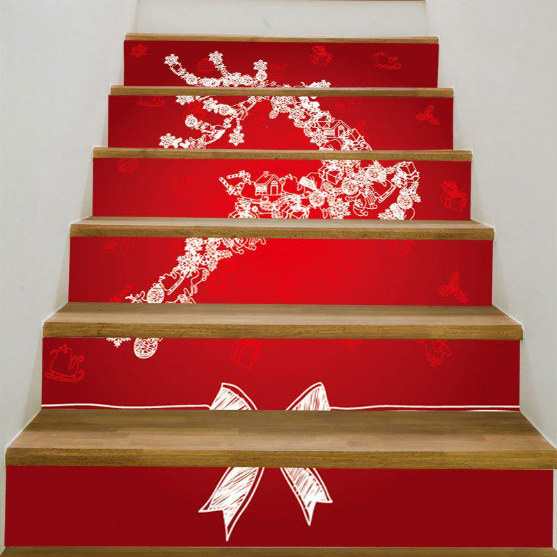 Flying Christmas Elk Patterned Stair StickersHOME<br><br>Size: 6PCS:39*7 INCH( NO FRAME ); Color: RED AND WHITE; Wall Sticker Type: 3D Wall Stickers; Functions: Stair Stickers; Theme: Christmas; Pattern Type: Bowknot,Print; Material: PVC; Feature: Removable; Weight: 0.3100kg; Package Contents: 6 x Stair Stickers (Pcs);