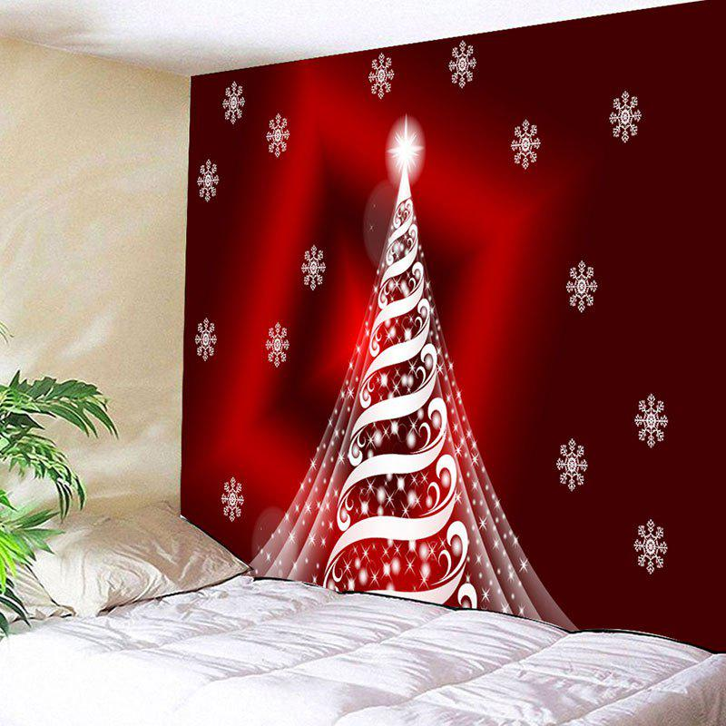 Wall Decor Sparkling Christmas Tree Print TapestryHOME<br><br>Size: W59 INCH * L59 INCH; Color: DARK RED; Style: Festival; Theme: Christmas; Material: Cotton,Polyester; Feature: Removable,Washable; Shape/Pattern: Tree; Weight: 0.2300kg; Package Contents: 1 x Tapestry;