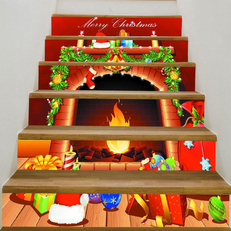 Christmas Fireplace Patterned Stair StickersHOME<br><br>Size: 6PCS:39*7 INCH( NO FRAME ); Color: RED AND ORANGE; Wall Sticker Type: 3D Wall Stickers; Functions: Stair Stickers; Theme: Christmas; Pattern Type: Print; Material: PVC; Feature: Removable; Weight: 0.3100kg; Package Contents: 6 x Stair Stickers (Pcs);