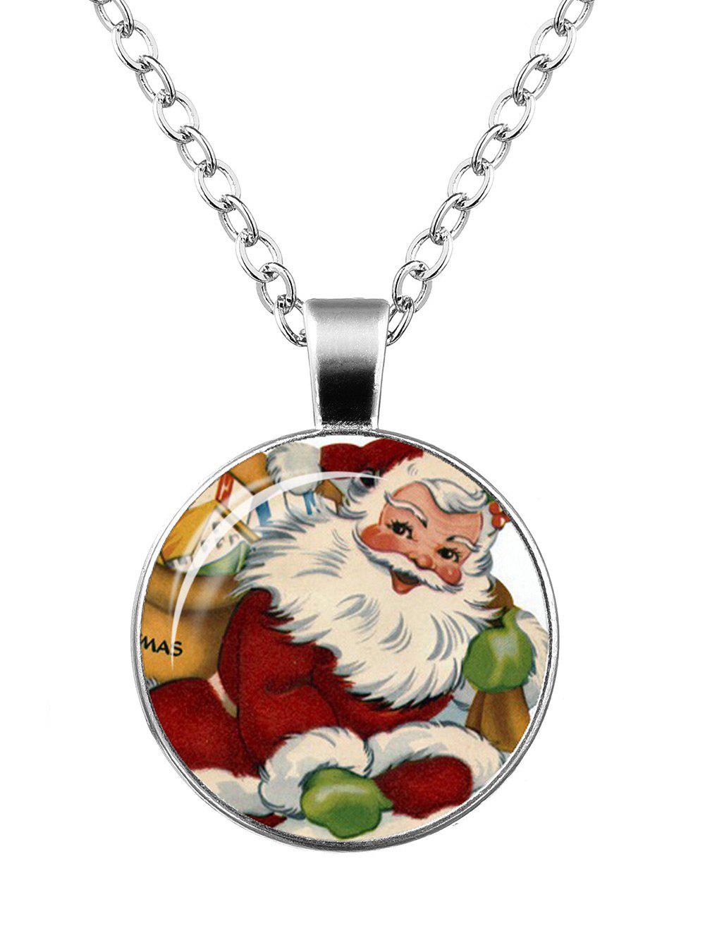 Christmas Santa Claus Print Round NecklaceJEWELRY<br><br>Color: PATTERN A; Item Type: Pendant Necklace; Gender: For Women; Necklace Type: Link Chain; Style: Trendy; Shape/Pattern: Round; Length: 55CM; Weight: 0.0400kg; Package Contents: 1 x Necklace;