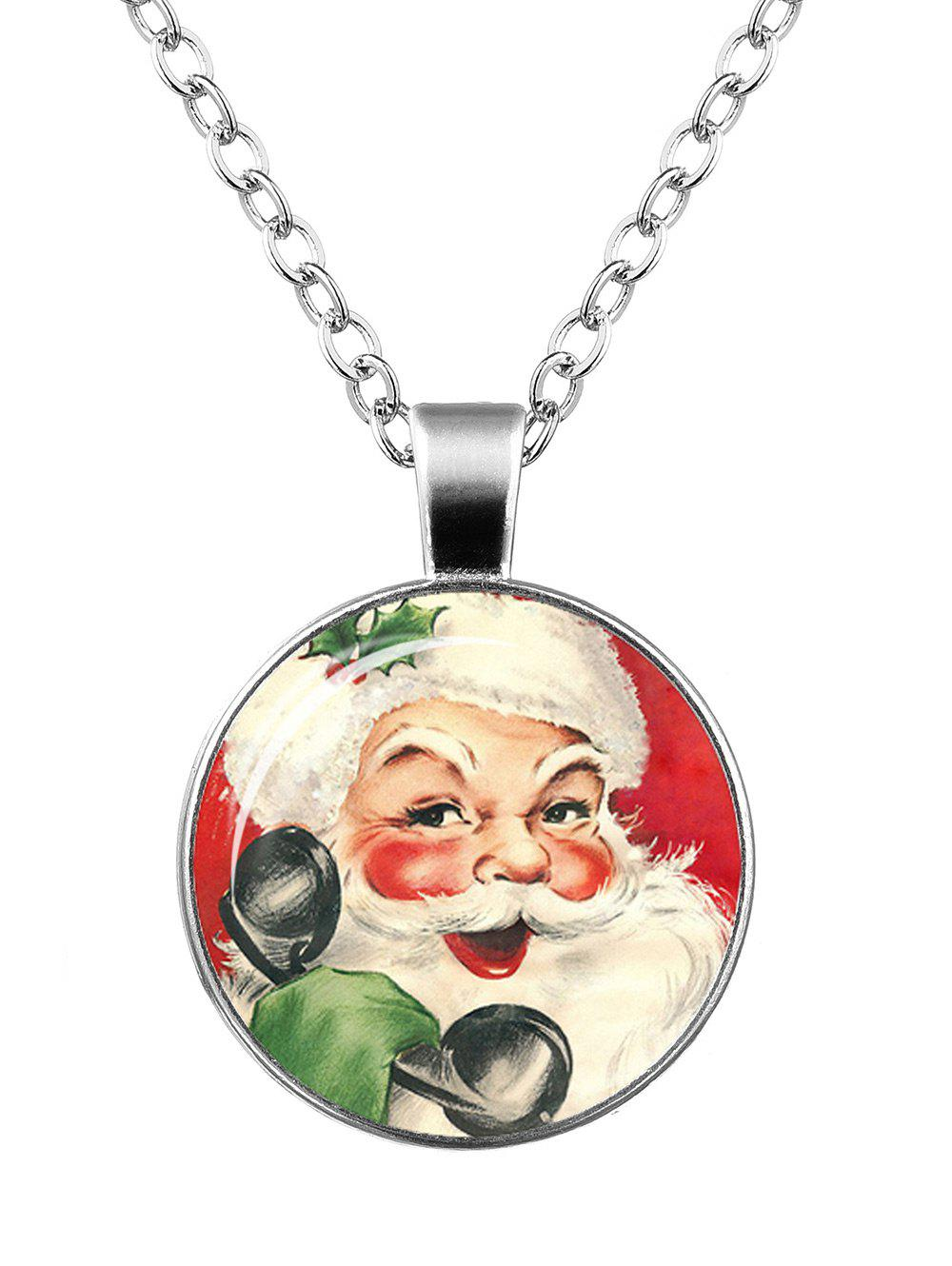 Christmas Santa Claus Print Round NecklaceJEWELRY<br><br>Color: PATTERN F; Item Type: Pendant Necklace; Gender: For Women; Necklace Type: Link Chain; Style: Trendy; Shape/Pattern: Round; Length: 55CM; Weight: 0.0400kg; Package Contents: 1 x Necklace;