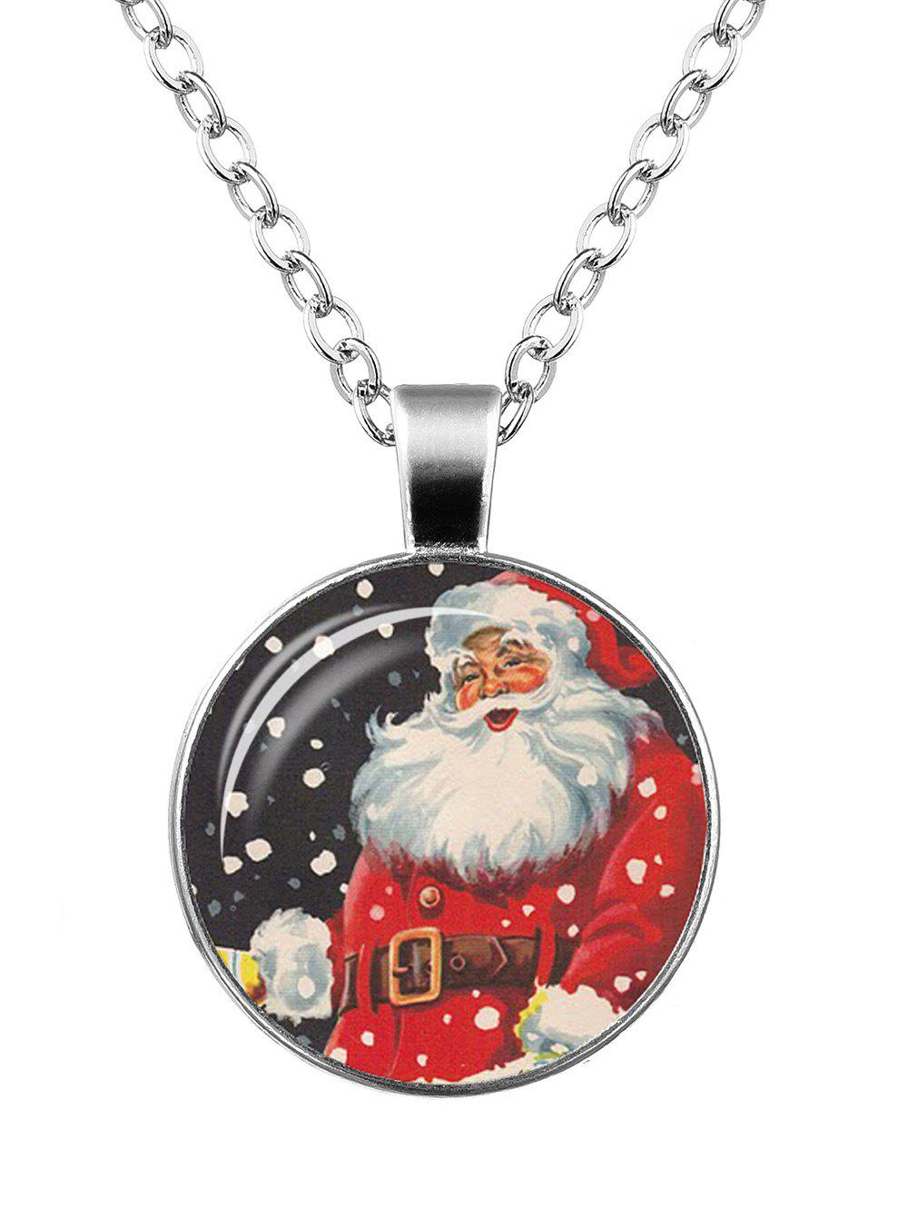 Christmas Santa Claus Print Round NecklaceJEWELRY<br><br>Color: PATTERN D; Item Type: Pendant Necklace; Gender: For Women; Necklace Type: Link Chain; Style: Trendy; Shape/Pattern: Round; Length: 55CM; Weight: 0.0400kg; Package Contents: 1 x Necklace;