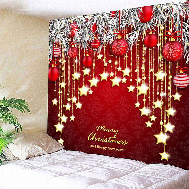 affordable wall decor christmas ball and star print tapestry - Christmas Wall Decor