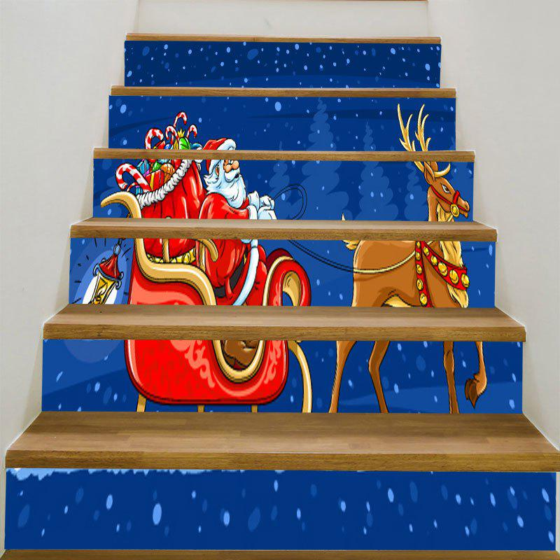 Santa Clause Elk Sleigh Patterned Stair StickersHOME<br><br>Size: 6PCS:39*7 INCH( NO FRAME ); Color: BLUE AND RED; Wall Sticker Type: 3D Wall Stickers; Functions: Stair Stickers; Theme: Christmas; Pattern Type: Santa Claus; Material: PVC; Feature: Removable; Weight: 0.3100kg; Package Contents: 6 x Stair Stickers (Pcs);