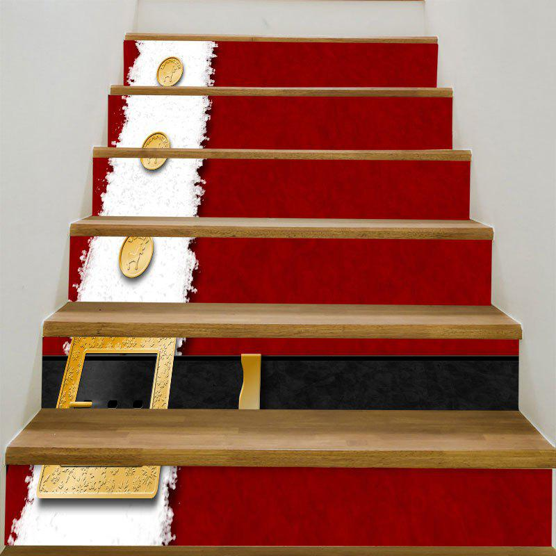 Christmas Belt Patterned Home Decor Stair StickersHOME<br><br>Size: 6PCS:39*7 INCH( NO FRAME ); Color: RED AND WHITE; Wall Sticker Type: 3D Wall Stickers; Functions: Stair Stickers; Theme: Christmas; Pattern Type: Print; Material: PVC; Feature: Removable; Weight: 0.3100kg; Package Contents: 6 x Stair Stickers (Pcs);