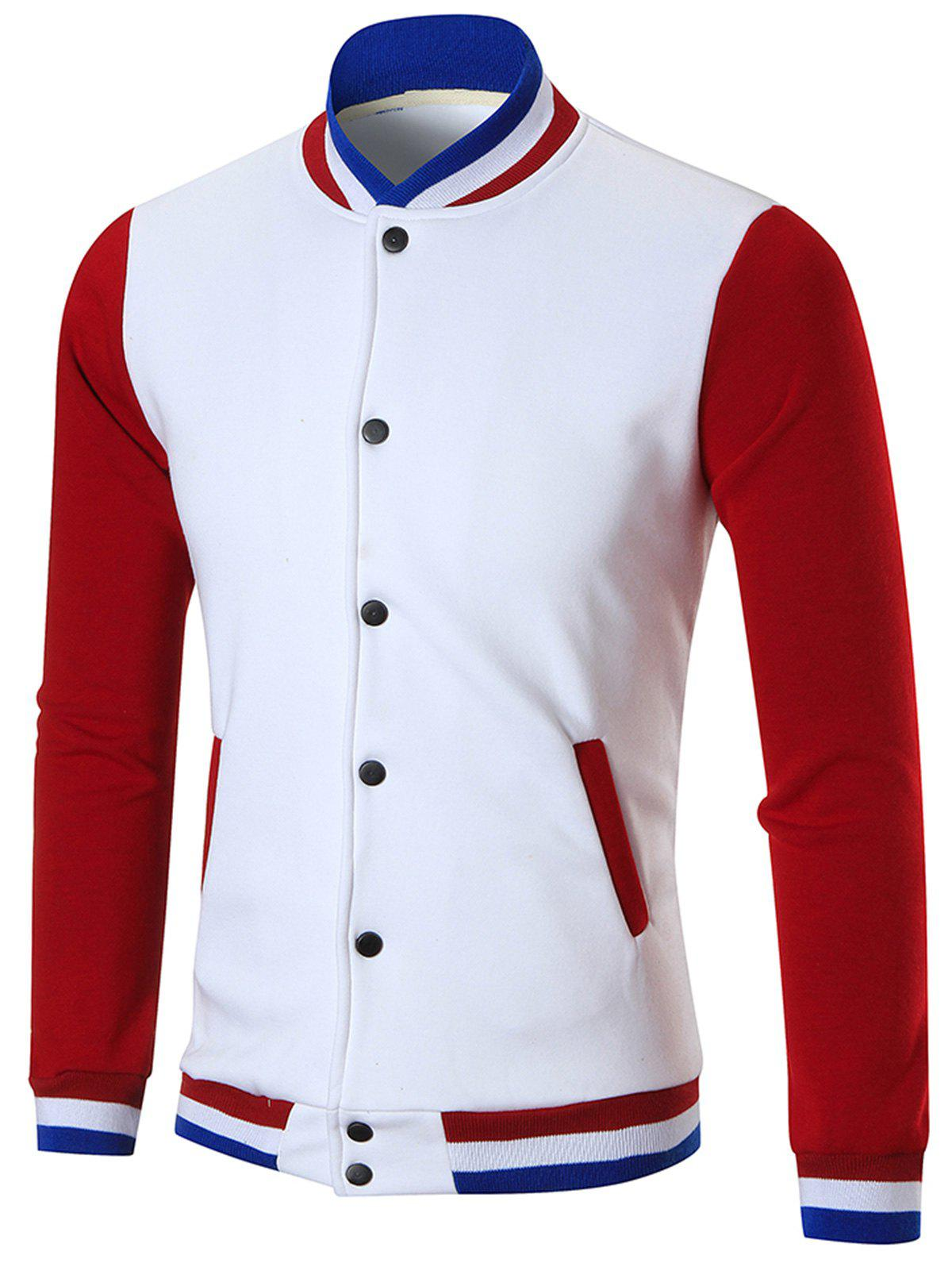 Color Block Casual Sports Baseball JacketMEN<br><br>Size: XL; Color: WHITE; Clothes Type: Jackets; Style: Casual,Fashion,Streetwear; Material: Cotton,Polyester; Collar: Stand Collar; Shirt Length: Regular; Sleeve Length: Long Sleeves; Season: Fall,Spring,Winter; Closure Type: Single Breasted; Occasion: Casual ,Daily Use,Going Out,Sports; Weight: 0.7000kg; Package Contents: 1 x Jacket;