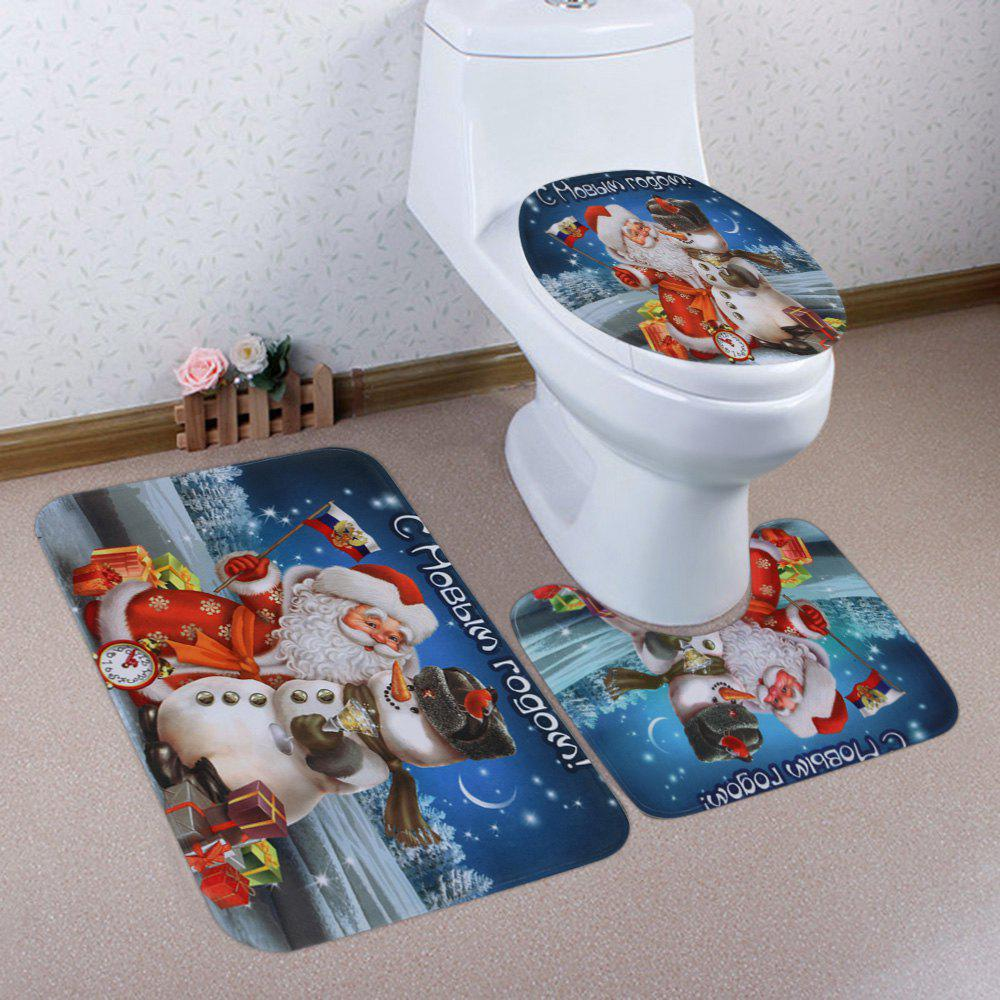Outfits Christmas Santa Snowman Pattern 3 Pcs Bath Mat Toilet Mat